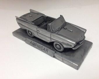 Amphicar Pewter Effect 1.43 Scale Model Car Handmade In Sheffield
