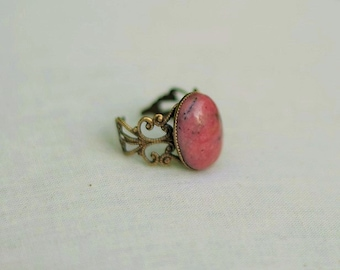 Pink Ring Pink Stone Ring Pink Rhodonite Ring Pink Gemstone Ring Oval Pink Ring Antiqued Gold Filigree Ring