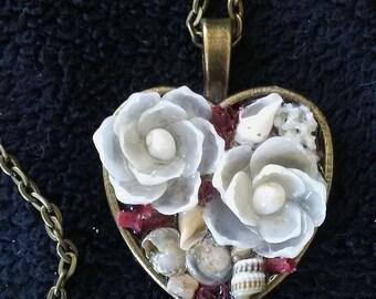 Sailors Valentine inspired Heart PENDANT Shellflower Garden Design (Red Coral)