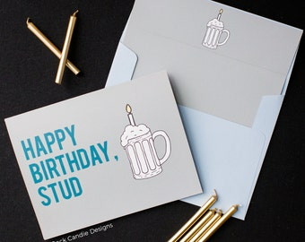 Funny Birthday Card Boyfriend / Happy Birthday Stud - Birthday Card / Birthday Card Boyfriend, Birthday Card Husband | Cute, sassy and fun