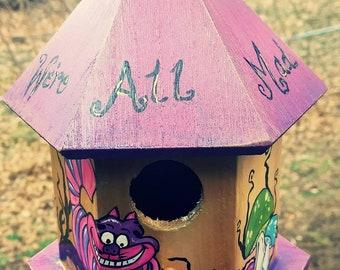 Alice in wonderland Cheshire cat hand painted birdhouse