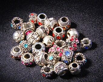 20pcs/Lot Mix Send  Wholesale Vintage Alloy Crystal Diamond European beads Luxury Bracelet Beads