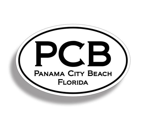 Panama city beach pcb sticker custom printed oval decal cup
