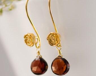 January Birthstone Earrings - Garnet Earrings - Gold Earrings - Flower Earrings