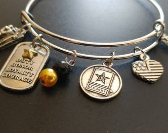 Military - US Army Pride- Adjustable Bangle Charm Bracelet Silver