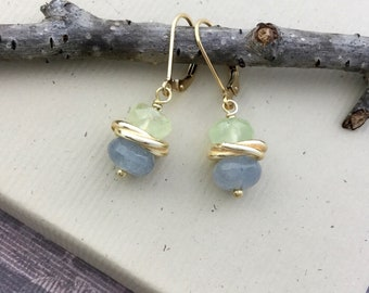 Light green and blue quartz gemstone earrings, faceted rondelles, gold filled lever back ear wires E490