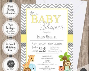 Yellow and gray baby shower invitation, safari baby shower invitation, neutral baby shower invitation, jungle baby shower invitations
