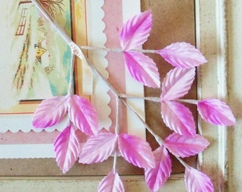 Vintage / Leaves / One Sprig / Fifteen Leaves / Made in Japan / Variegated / Ombre