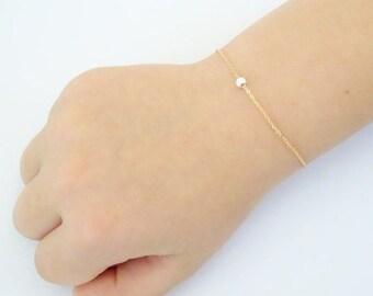 Baby bracelet, Dainty silver dot bracelet, Baptism bracelet, 14K gold fill bracelet, Stardust bead bracelet, simple bridesmaid bracelet