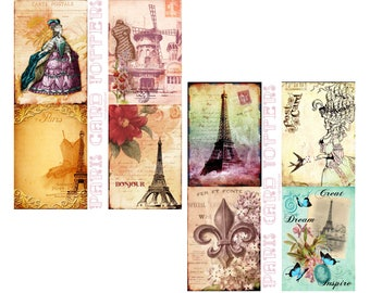 Paris Card Toppers Digital Collage Set