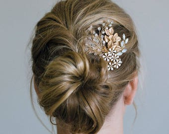 Gold Hair Comb, Gold leaf hair comb, Gold headpiece, Gold leaf comb, Bridal hair comb