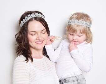 Mother Daughter Matching Crown Headbands, Silver Crown Headband Toddler, Bride and Flower Girl Crown, Mommy and me Crown, Queen and Princess