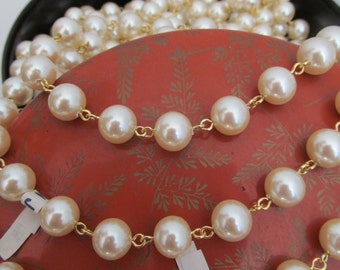 5 or 10MM  Vintage  Round Glass  Pearl  Chain