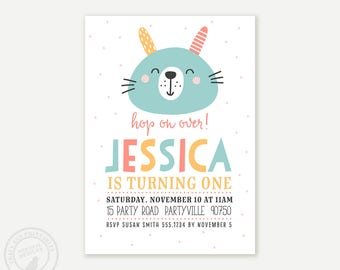 Bunny 1st Birthday Invitation | 2nd, 3rd, 4th, 5th Girl Birthday Invite | Birthday Whimisical Party | Digital Invitation | Printable | 1589
