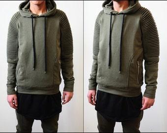 Oversized Men's 2018 Quilted Shoulder Front Zippers Sweatshirt Hoodie / Skinny Fit Sweater
