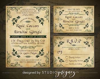 Fantasy Wedding Printable Invitation Suite, Woodland Printable Invitation, Storybook Printable Save the Date, Printable Response Card