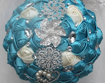 Turquoise Mixed Satin Rose Bouquet Crystal Rhinestone Bridal Bouquet Bridesmaid Bouquet Brooch Bouquet Wedding Flowers