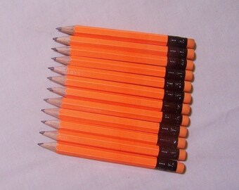 36  Neon Orange -Mini short half Hexagon Golf #2 Pencils with erasers Pre-Sharpened Made In the USA - Non Toxic Latex Free Express PencilsTM