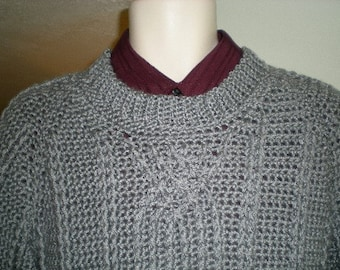 Sweaters, men's sweaters,sweater. men's fashions, clothing, men, crochet, gray, cable design, fisherman's sweater