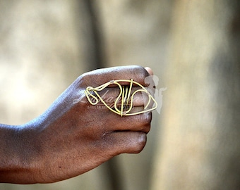 Unique Brass Ring,Statement Brass Ring,African jewelry