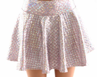 "10"", 12"" or 15"" Silver on Baby Pink Mermaid Scale Circle Cut Mini Skirt Rave Clubwear EDM Festival Clubwear 151376"