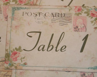 Wedding Table Number Cards, Wedding Numbers, Table Numbers, Vintage Postcard Style with Pink Roses,  Quantity 20