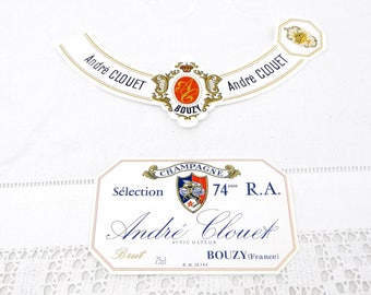 Vintage Unused Champagne Bottle Paper Label Andre Couet Bouzy, French Decor Item, Wedding