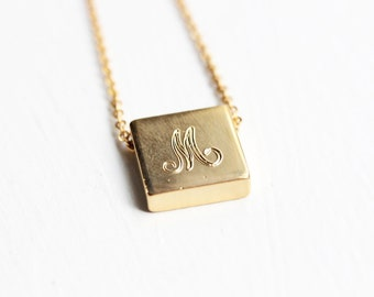 Gold Initial Necklace, Square Initial Necklace, Cursive Initial Necklace, Initial Necklace, Letter Necklace, A,B,C,E,F,G,H,J,L,M,N,R,S,T