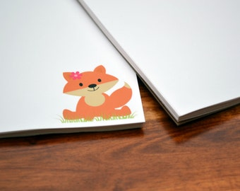 Personalized Notepads / Fox Notepads /Personalized Notebook / Personalized Foxy Note Pads/ Set of Notepads /  Set of 2 Foxs Design