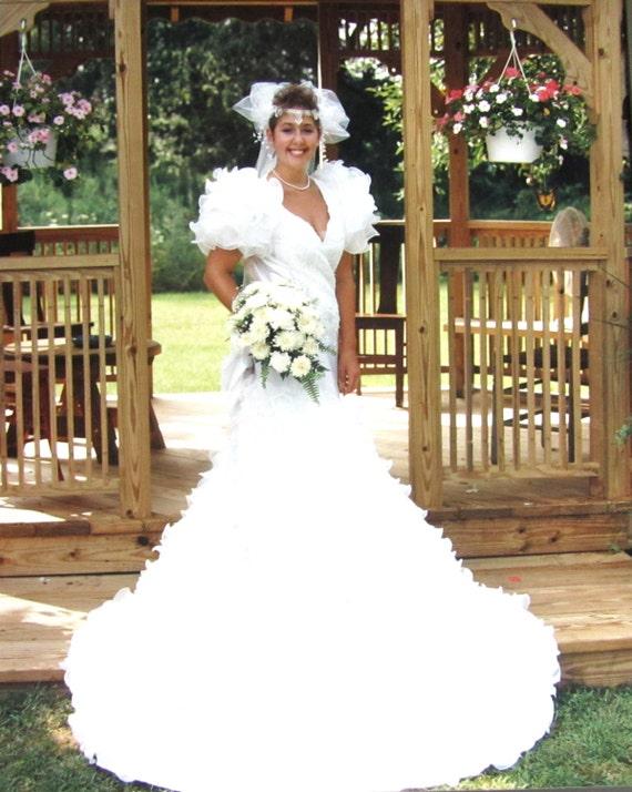 Vintage 1990 Wedding Dress White Satin Sheer Ruffle Train
