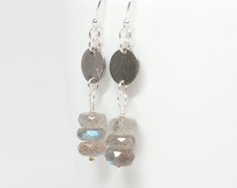 Stacked Labradorite Sterling Silver Earrings