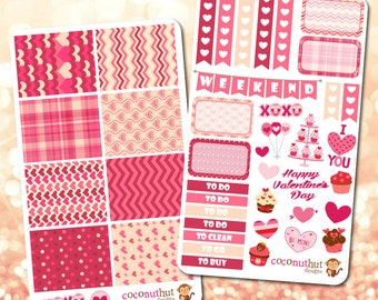 Valentine / February / Pink & Red Theme Planner Stickers