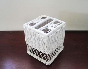 White Wicker Tissue Box, Upright, Vintage Bathroom Decor, Shabby Cottage Chic, Tissue Box Holder, Wicker Bath Decor