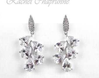 White gold bridal earrings, Bridal chandelier earrings, Vintage bridal earring, Austrian crystal, Teardrop crystal earring, River