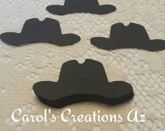 25 Black Cowboy Hats / Cowboy  Die Cuts / Black Cowboy Hat Die Cuts / Western Hat Die Cuts / Western Themed Embellishments / ANY COLOR