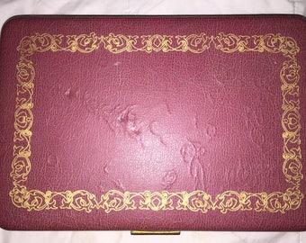 SALE Vintage 1950s-60s Farrington Jewelry Box Texol Leather Trinket Box