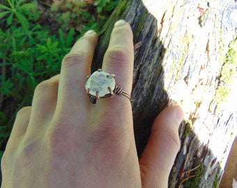 Handmade Rose Quartz Prong Copper Ring