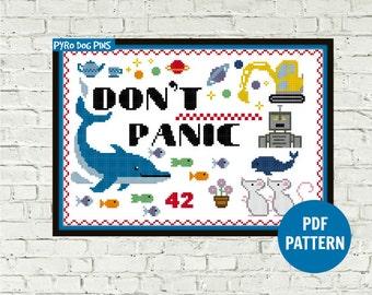 Don't Panic Cross Stitch Pattern PDF - 'Hitchhicker's Guide'  Modern Cross Stitch - Instant Download - Needlework - Craft Pattern