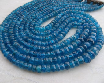 4 to 6 mm Natural Rare Neon Apatite Faceted  Faceted Rondelle 8x1/2 inch strand-AA+