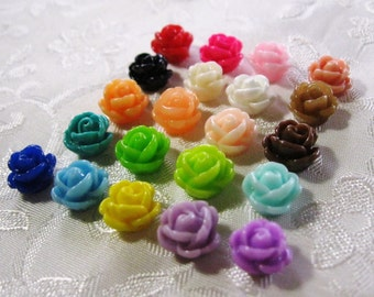 Drilled Small Resin Rose Flower Beads with Hole You Pick Colors 9-10mm Acrylic Lucite 922