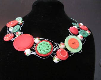 Necklace made of recycled buttons