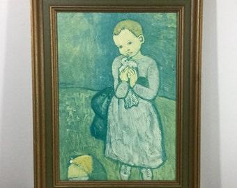"Vintage Green Blue Art Print - Picasso ""Child with a Dove"" - Wood Frame - White Bird, Seafoam Green Grass, Aqua Blue Sky, Soft Pastel Colors"