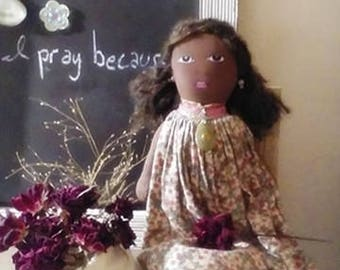 Rose Marie African American Rag Doll Art Doll Black Handmade Ornament brooch earrings lots of details soft hair