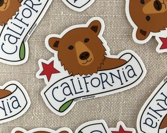 California Bear Vinyl Sticker / California State Bumper Sticker / Illustrated Bear Sticker / Cool Laptop Sticker / Waterproof Sticker