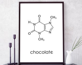 Molecule Chocolate Print. Chocolate Wall Art. Chocolate Lovers Gift. Molecule Print. Science Art. Chocoholic Print. Chocolate Inspiration.