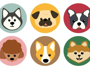 Set of 6 Dog Buttons | Party Favors | Gifts For Dog Lovers