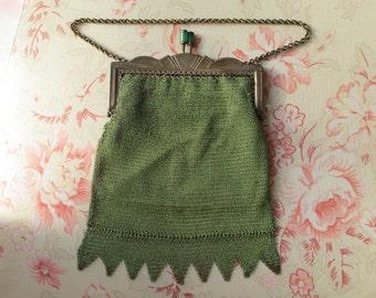 1920s Green Enamelled  Art Deco Metal Mesh Bag Purse Flapper Era