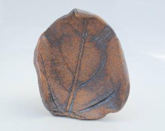 Ceramic leaf dish small stoneware plate
