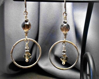 Sterling  Silver Hoop Earrings with Faceted Olive and Smoky Quartz Stone beads
