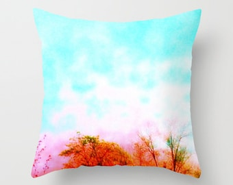 Pillow Cover, Things Are Looking Up Throw Pillow, Colorful Sky Pillow, Colorful Pillow, Aqua Pillow, Pastel, Nursery Decor, Home Decor